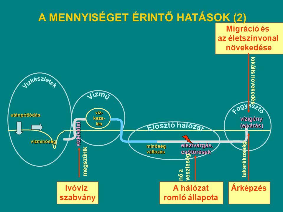 utánpótlódás vízminőség víz-keze-lés vízkivétel minőségváltozás elszivárgás,csőtörések vízigény(elvárás) Ivóvíz szabvány A hálózat romló állapota megs