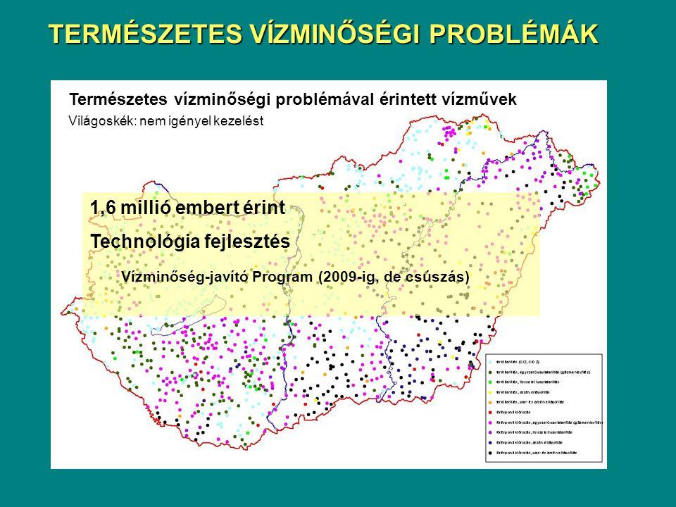 Természetes vízminőségi problémával érintett vízművek Világoskék: nem igényel kezelést 1,6 millió embert érint Technológia fejlesztés Vízminőség-javít