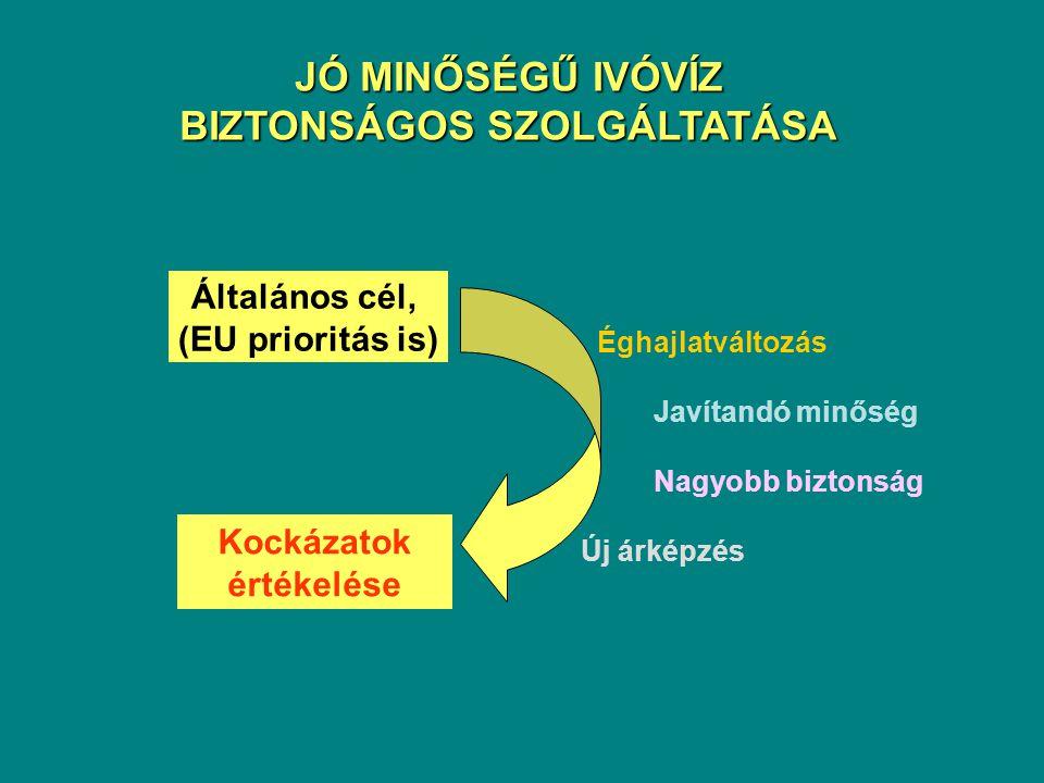 Éghajlatváltozás Javítandó minőség Nagyobb biztonság Új árképzés Kockázatok értékelése Általános cél, (EU prioritás is) JÓ MINŐSÉGŰ IVÓVÍZ BIZTONSÁGOS