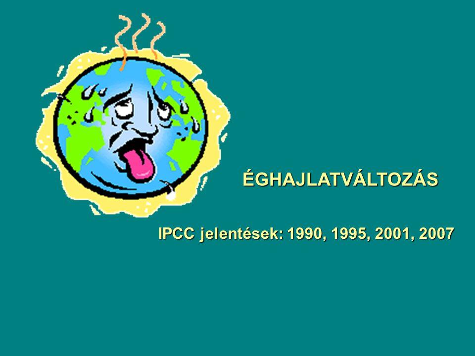 ÉGHAJLATVÁLTOZÁS IPCC jelentések: 1990, 1995, 2001, 2007
