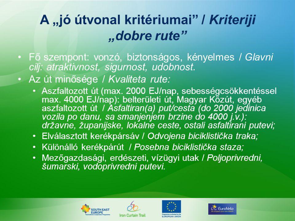 """A """"jó útvonal kritériumai / Kriteriji """"dobre rute Fő szempont: vonzó, biztonságos, kényelmes / Glavni cilj: atraktivnost, sigurnost, udobnost."""