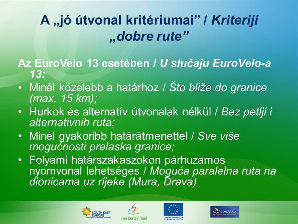 Az EuroVelo 13 esetében / U slučaju EuroVelo-a 13: Minél közelebb a határhoz / Što bliže do granice (max.