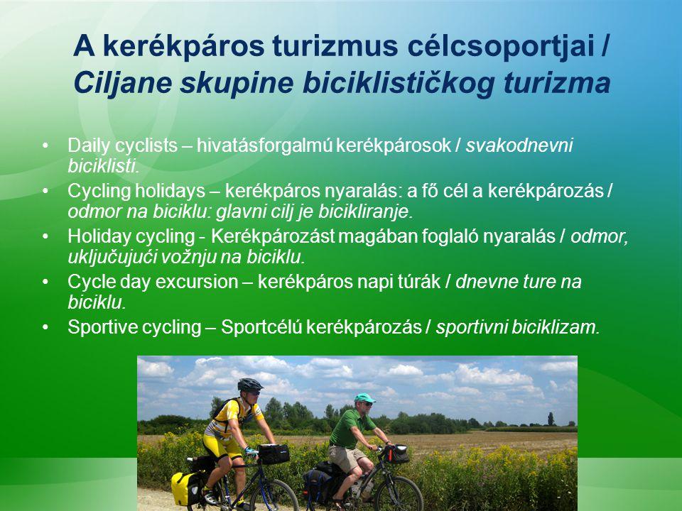 A kerékpáros turizmus célcsoportjai / Ciljane skupine biciklističkog turizma Daily cyclists – hivatásforgalmú kerékpárosok / svakodnevni biciklisti.