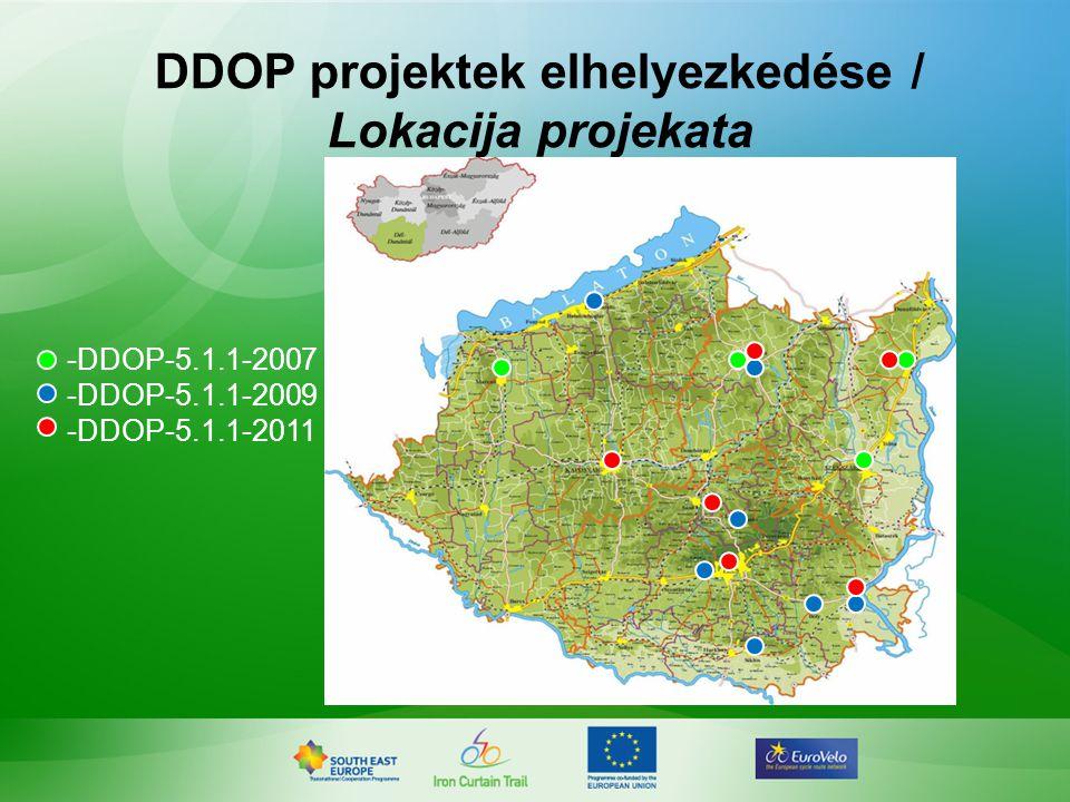 DDOP projektek elhelyezkedése / Lokacija projekata -DDOP-5.1.1-2007 -DDOP-5.1.1-2009 -DDOP-5.1.1-2011