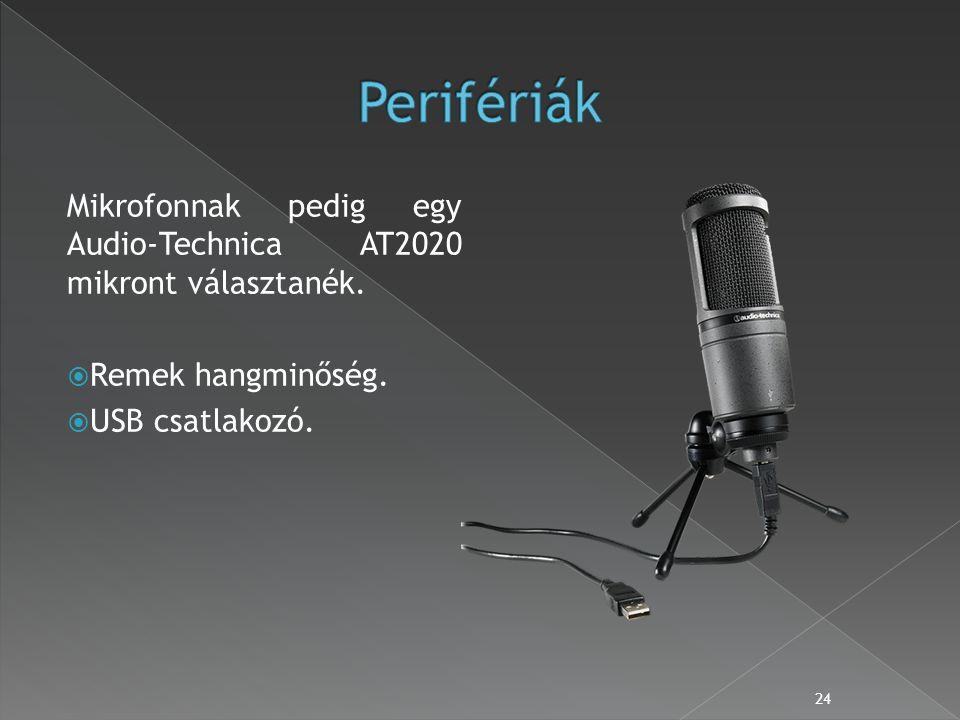 Mikrofonnak pedig egy Audio-Technica AT2020 mikront választanék.