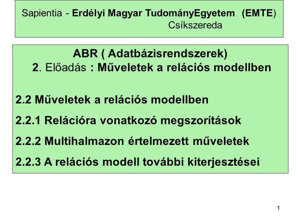 2 Sapientia - Erdélyi Magyar TudományEgyetem (EMTE) Csíkszereda Adott az adatbázis sémája, amelyik négy relációból áll: Termék(gyártó, modell, típus) PC(modell, sebesség, memória, merevlemez, ár) Laptop(modell, sebesség, memória, merevlemez, képernyő, ár) Nyomtató(modell, színes, típus, ár)