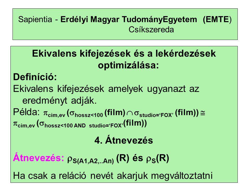 20 Sapientia - Erdélyi Magyar TudományEgyetem (EMTE) Csíkszereda R multihalmazban t sor n-szer szerepel S multihalmazban t sor m-szer szerepel RUS-ben a t sor (n+m) -szer szerepel R  S-ben a t sor min(n,m) -szer szerepel R\S-ben a t sor max(0,n-m)-szer szerepel S\R-ben a t sor max(0,m-n)-szer szerepel