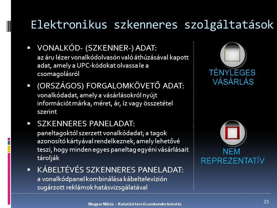 Elektronikus szkenneres szolgáltatások  VONALKÓD- (SZKENNER-) ADAT: az áru lézer vonalkódolvasón való áthúzásával kapott adat, amely a UPC-kódokat ol