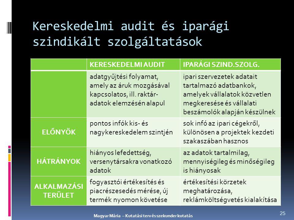 Kereskedelmi audit és iparági szindikált szolgáltatások KERESKEDELMI AUDITIPARÁGI SZIND.SZOLG. adatgyűjtési folyamat, amely az áruk mozgásával kapcsol