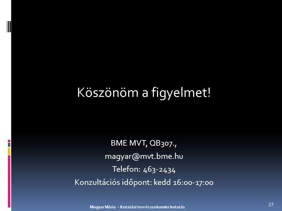 Köszönöm a figyelmet! BME MVT, QB307., magyar@mvt.bme.hu Telefon: 463-2434 Konzultációs időpont: kedd 16:00-17:00 Magyar Mária – Kutatási terv és szek