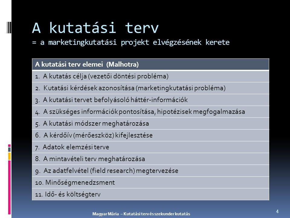 A marketingkutatás során felhasznált adatok lehetnek: PRIMER ADATOK SZEKUNDER ADATOK olyan adatok, amelyet nem az adott probléma megoldása céljából gyűjtöttek egy adott kutatási probléma megoldása céljából gyűjtött adatok Magyar Mária – Kutatási terv és szekunder kutatás 15