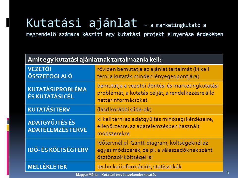Primer és szekunder adatok összehasonlítása ADATGYŰJTÉS PRIMER ADATOK SZEKUNDER ADATOK Célja adott problémamás probléma Folyamata összetettgyors és könnyű Költsége magasviszonylag alacsony Időtartama hosszúrövid Magyar Mária – Kutatási terv és szekunder kutatás 16