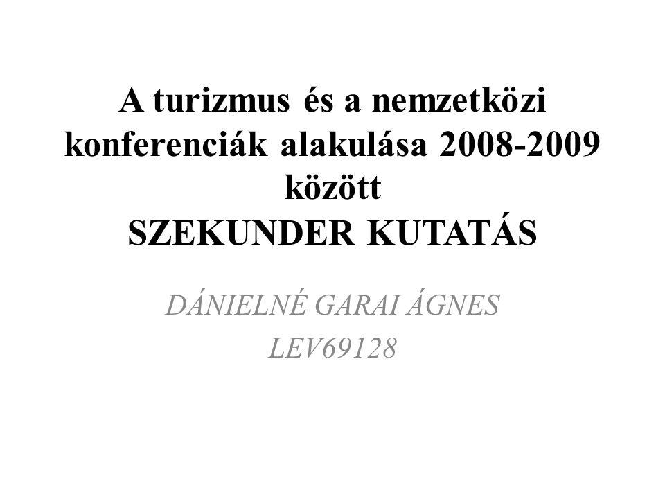 A turizmus és a nemzetközi konferenciák alakulása 2008-2009 között SZEKUNDER KUTATÁS DÁNIELNÉ GARAI ÁGNES LEV69128