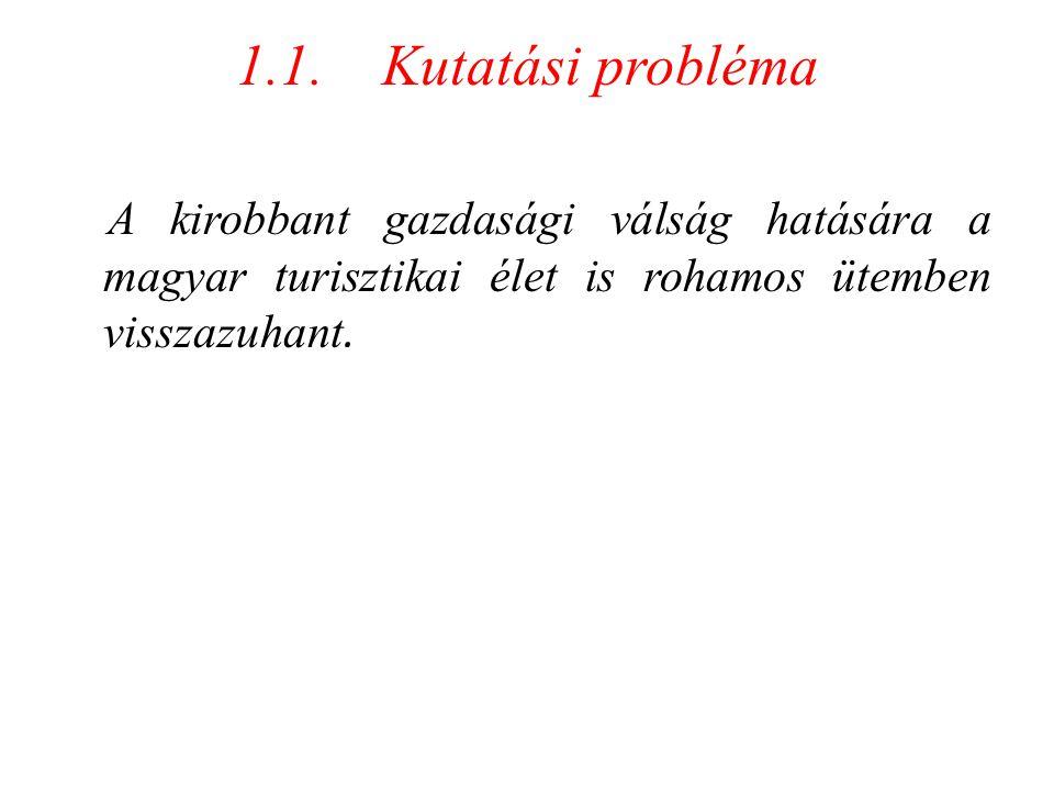 1.1. Kutatási probléma A kirobbant gazdasági válság hatására a magyar turisztikai élet is rohamos ütemben visszazuhant.