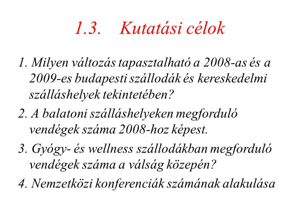 1.3. Kutatási célok 1. Milyen változás tapasztalható a 2008-as és a 2009-es budapesti szállodák és kereskedelmi szálláshelyek tekintetében? 2. A balat