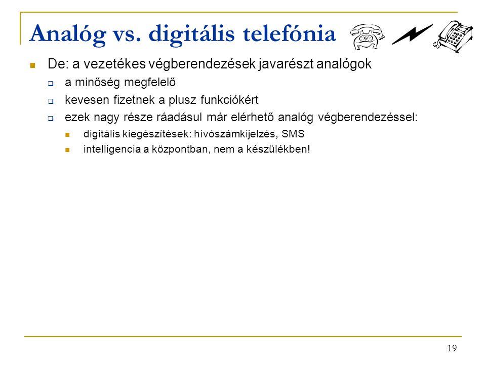 19 Analóg vs. digitális telefónia De: a vezetékes végberendezések javarészt analógok  a minőség megfelelő  kevesen fizetnek a plusz funkciókért  ez