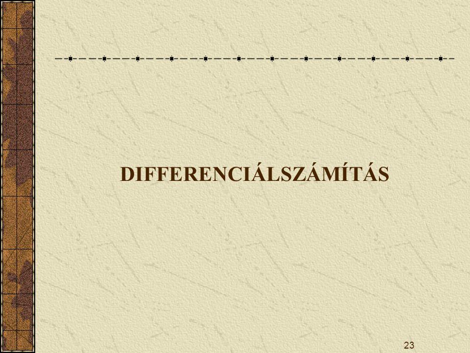 23 DIFFERENCIÁLSZÁMÍTÁS