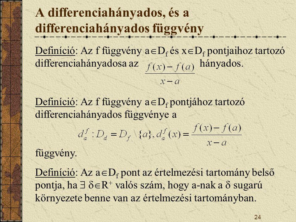 24 A differenciahányados, és a differenciahányados függvény Definíció: Az f függvény a  D f és x  D f pontjaihoz tartozó differenciahányadosa az hányados.