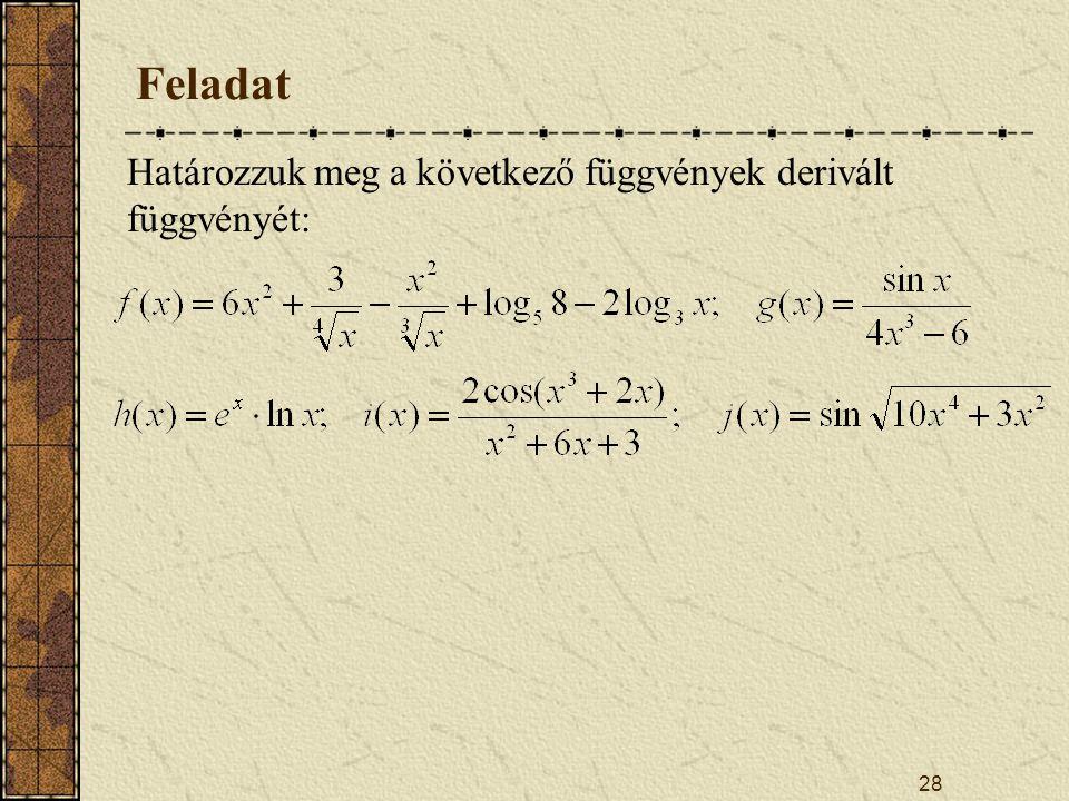 28 Feladat Határozzuk meg a következő függvények derivált függvényét: