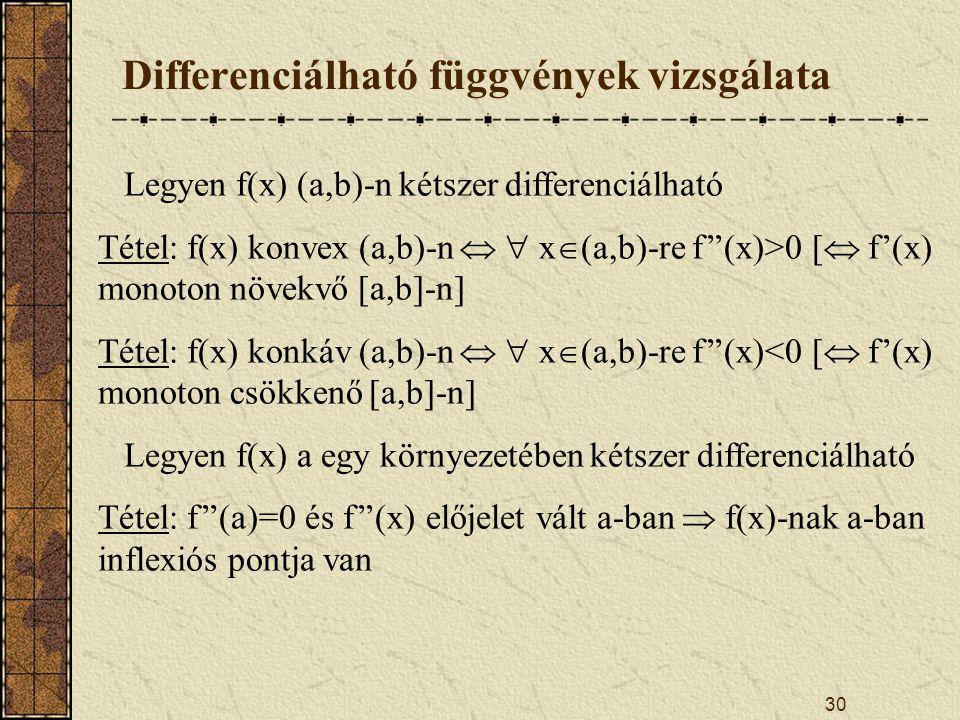 30 Differenciálható függvények vizsgálata Legyen f(x) (a,b)-n kétszer differenciálható Tétel: f(x) konvex (a,b)-n   x  (a,b)-re f''(x)>0 [  f'(x) monoton növekvő [a,b]-n] Tétel: f(x) konkáv (a,b)-n   x  (a,b)-re f''(x)<0 [  f'(x) monoton csökkenő [a,b]-n] Legyen f(x) a egy környezetében kétszer differenciálható Tétel: f''(a)=0 és f''(x) előjelet vált a-ban  f(x)-nak a-ban inflexiós pontja van