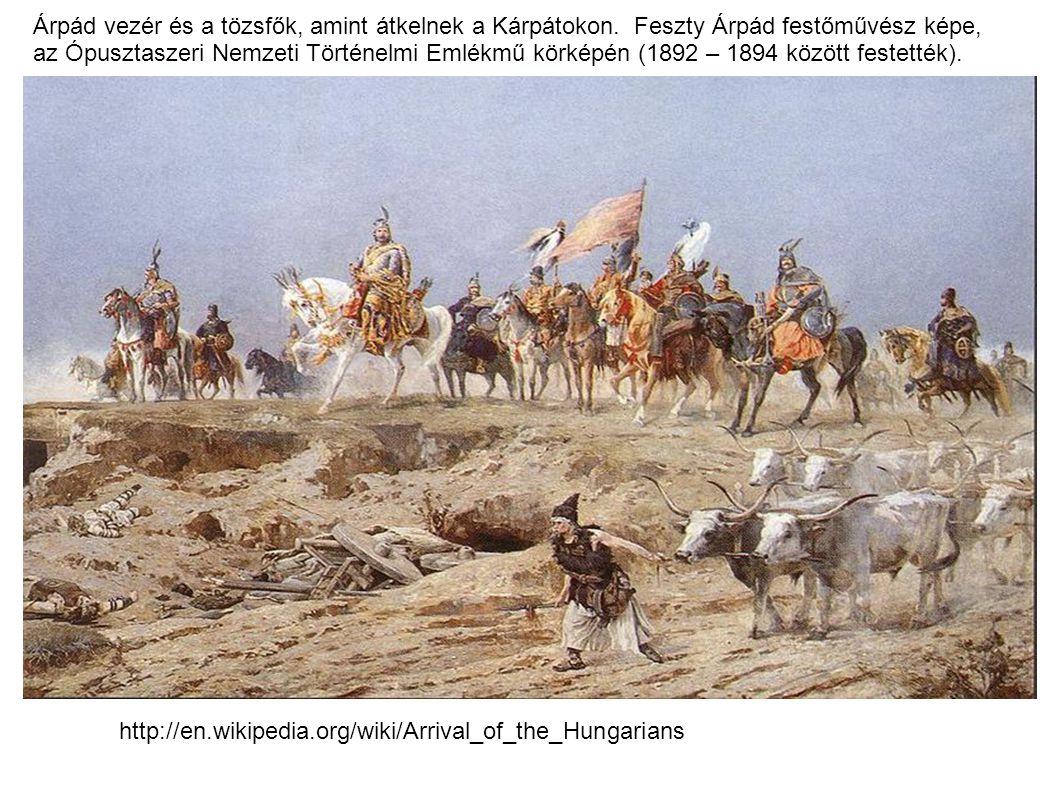 Árpád vezér és a tözsfők, amint átkelnek a Kárpátokon. Feszty Árpád festőművész képe, az Ópusztaszeri Nemzeti Történelmi Emlékmű körképén (1892 – 1894