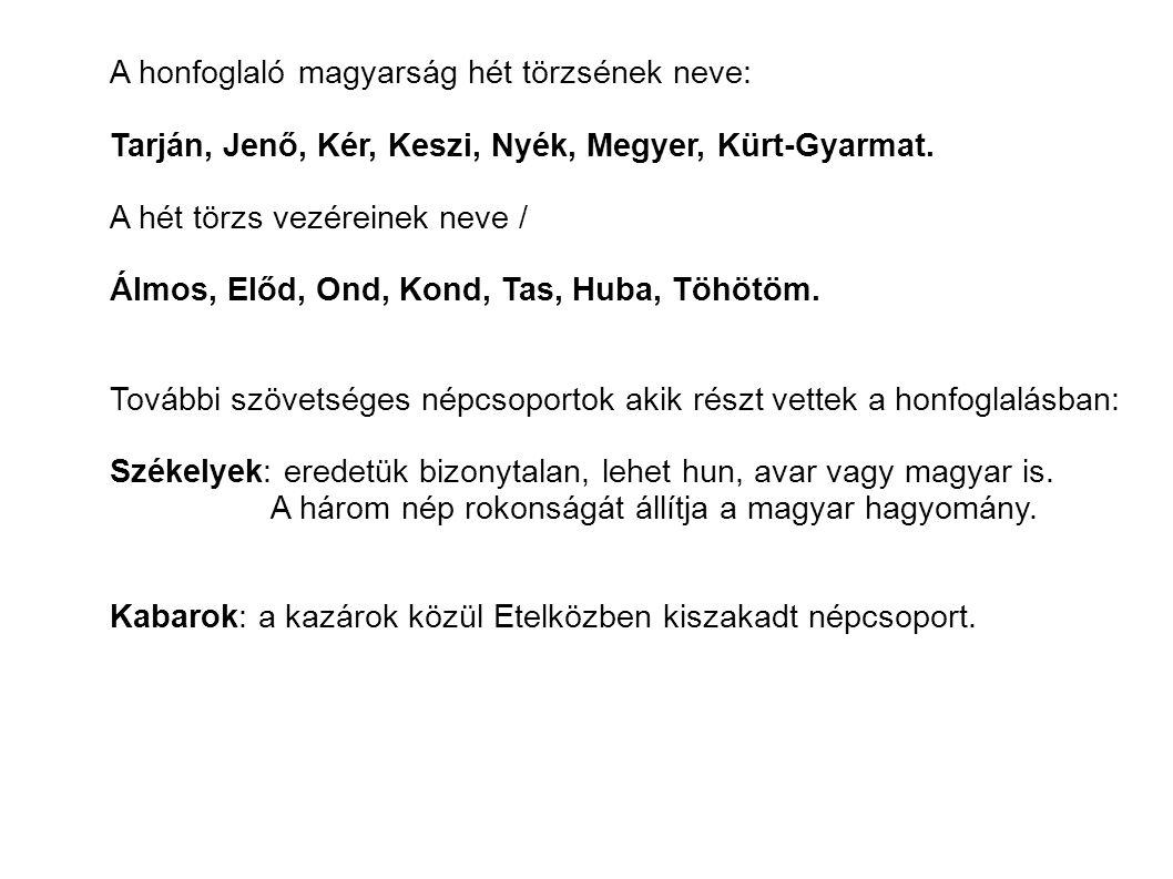 A honfoglaló magyarság hét törzsének neve: Tarján, Jenő, Kér, Keszi, Nyék, Megyer, Kürt-Gyarmat. A hét törzs vezéreinek neve / Álmos, Előd, Ond, Kond,