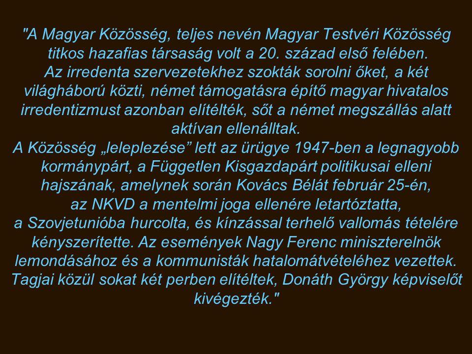 1947. október 23. Donáth György, a Magyar Közösség per fővádlottja, kivégzése előtt.
