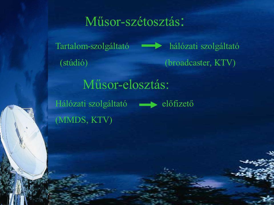 A műsorszétosztás eszközei: műholdas rendszerek (DVB) távközlési hálózatok (SDH, ATM) A műsorelosztás eszközei: MMDS KTV ADSL Internet