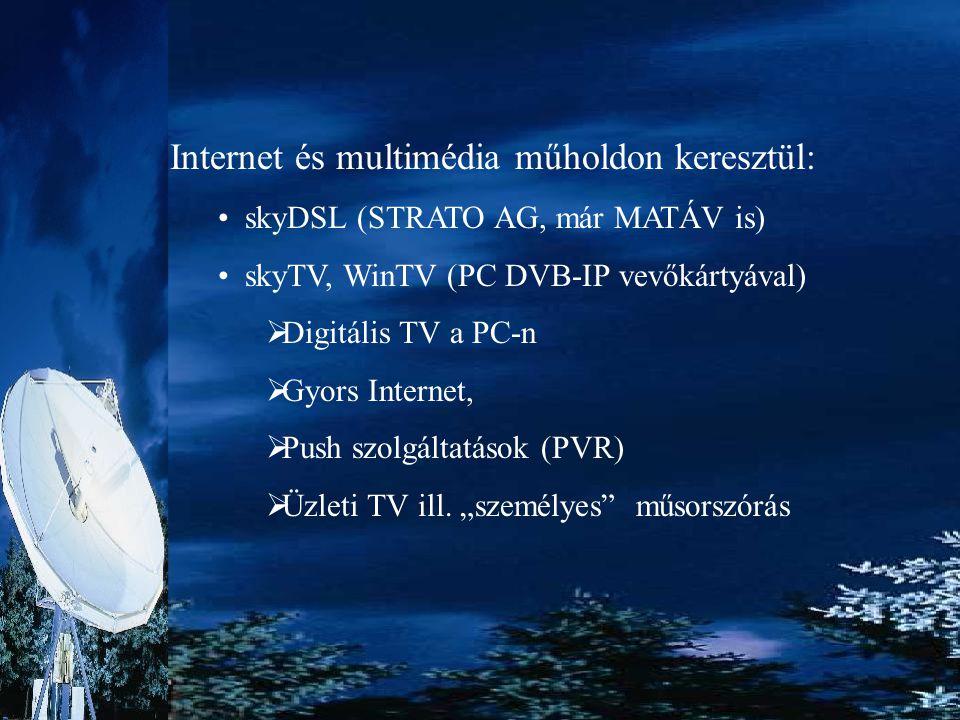 Internet és multimédia műholdon keresztül: skyDSL (STRATO AG, már MATÁV is) skyTV, WinTV (PC DVB-IP vevőkártyával)  Digitális TV a PC-n  Gyors Inter