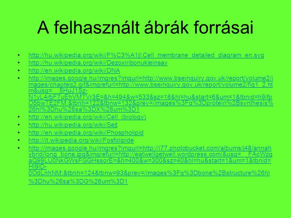 A felhasznált ábrák forrásai http://hu.wikipedia.org/wiki/F%C3%A1jl:Cell_membrane_detailed_diagram_en.svg http://hu.wikipedia.org/wiki/Dezoxiribonukle