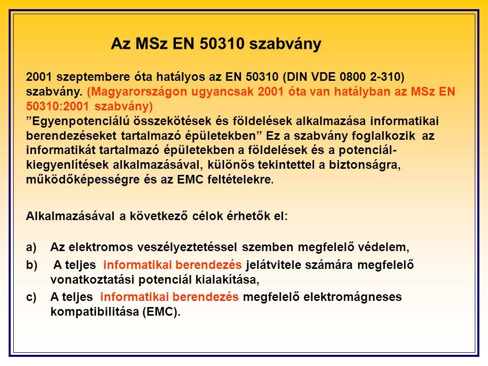 a) Az elektromos veszélyeztetéssel szemben megfelelő védelem, b) A teljes informatikai berendezés jelátvitele számára megfelelő vonatkoztatási potenciál kialakítása, c)A teljes informatikai berendezés megfelelő elektromágneses kompatibilitása (EMC).