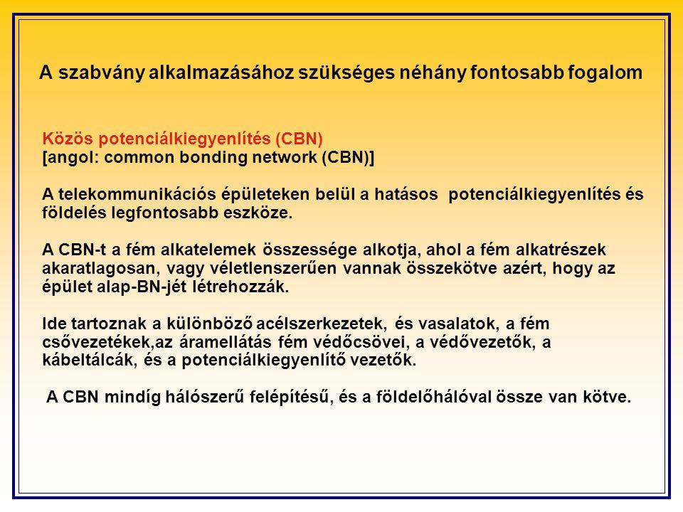 Közös potenciálkiegyenlítés (CBN) [angol: common bonding network (CBN)] A telekommunikációs épületeken belül a hatásos potenciálkiegyenlítés és földelés legfontosabb eszköze.