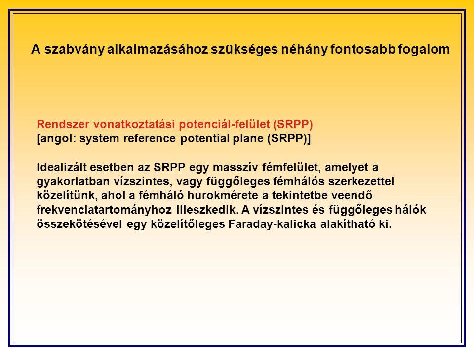 Rendszer vonatkoztatási potenciál-felület (SRPP) [angol: system reference potential plane (SRPP)] Idealizált esetben az SRPP egy masszív fémfelület, amelyet a gyakorlatban vízszintes, vagy függőleges fémhálós szerkezettel közelítünk, ahol a fémháló hurokmérete a tekintetbe veendő frekvenciatartományhoz illeszkedik.