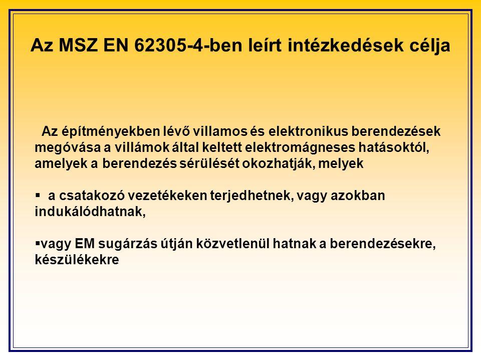 Az MSZ EN 62305-4-ben leírt intézkedések célja Az építményekben lévő villamos és elektronikus berendezések megóvása a villámok által keltett elektromágneses hatásoktól, amelyek a berendezés sérülését okozhatják, melyek  a csatakozó vezetékeken terjedhetnek, vagy azokban indukálódhatnak,  vagy EM sugárzás útján közvetlenül hatnak a berendezésekre, készülékekre