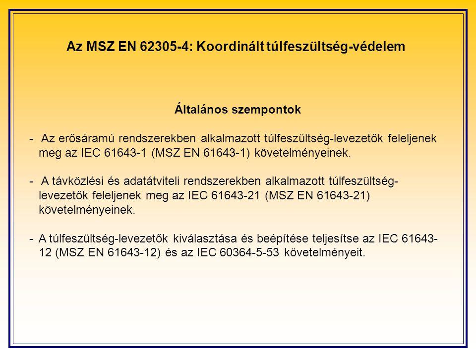 Az MSZ EN 62305-4: Koordinált túlfeszültség-védelem Általános szempontok - Az erősáramú rendszerekben alkalmazott túlfeszültség-levezetők feleljenek meg az IEC 61643-1 (MSZ EN 61643-1) követelményeinek.