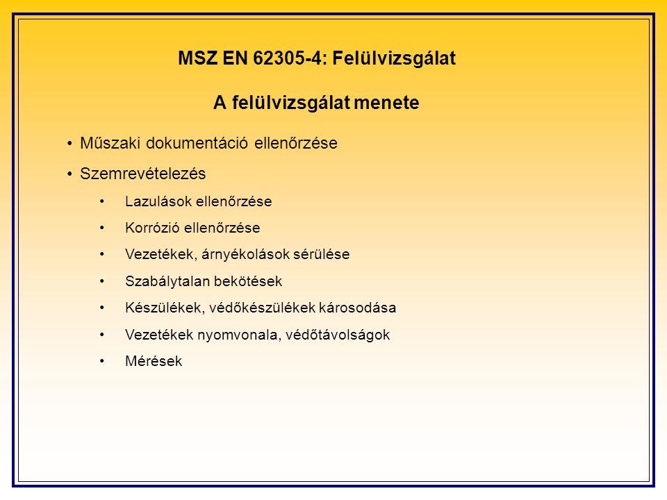 MSZ EN 62305-4: Felülvizsgálat A felülvizsgálat menete Műszaki dokumentáció ellenőrzése Szemrevételezés Lazulások ellenőrzése Korrózió ellenőrzése Vezetékek, árnyékolások sérülése Szabálytalan bekötések Készülékek, védőkészülékek károsodása Vezetékek nyomvonala, védőtávolságok Mérések