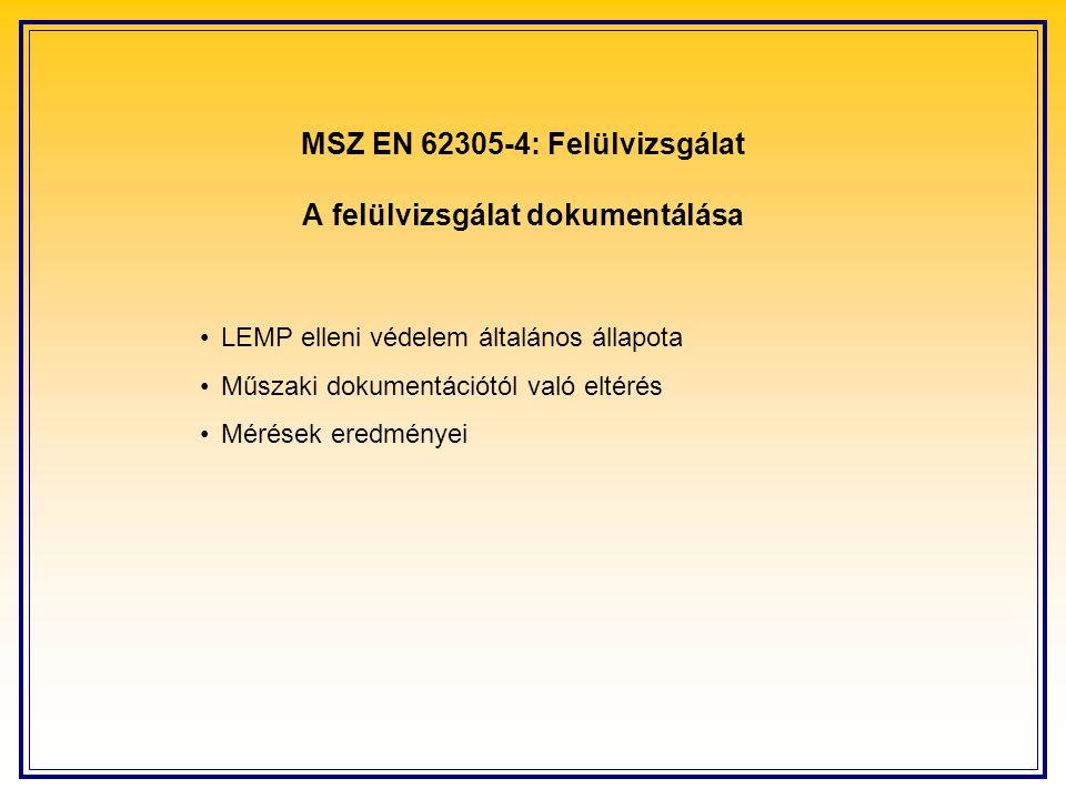 MSZ EN 62305-4: Felülvizsgálat A felülvizsgálat dokumentálása LEMP elleni védelem általános állapota Műszaki dokumentációtól való eltérés Mérések eredményei