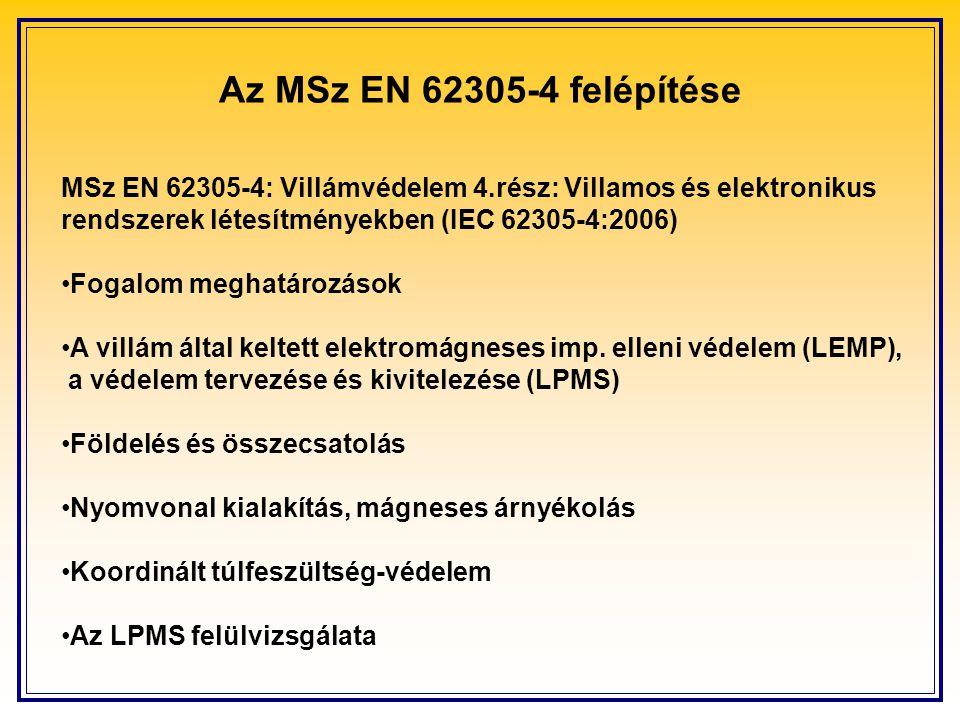 Az MSz EN 62305-4 felépítése MSz EN 62305-4: Villámvédelem 4.rész: Villamos és elektronikus rendszerek létesítményekben (IEC 62305-4:2006) Fogalom meghatározások A villám által keltett elektromágneses imp.