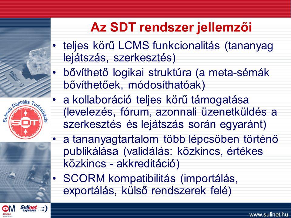 www.sulinet.hu Az SDT rendszer jellemzői teljes körű LCMS funkcionalitás (tananyag lejátszás, szerkesztés) bővíthető logikai struktúra (a meta-sémák bővíthetőek, módosíthatóak) a kollaboráció teljes körű támogatása (levelezés, fórum, azonnali üzenetküldés a szerkesztés és lejátszás során egyaránt) a tananyagtartalom több lépcsőben történő publikálása (validálás: közkincs, értékes közkincs - akkreditáció) SCORM kompatibilitás (importálás, exportálás, külső rendszerek felé)