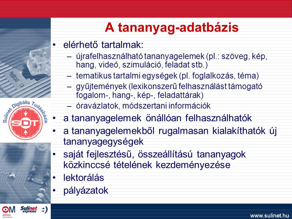 www.sulinet.hu A tananyag-adatbázis elérhető tartalmak: –újrafelhasználható tananyagelemek (pl.: szöveg, kép, hang, videó, szimuláció, feladat stb.) –tematikus tartalmi egységek (pl.