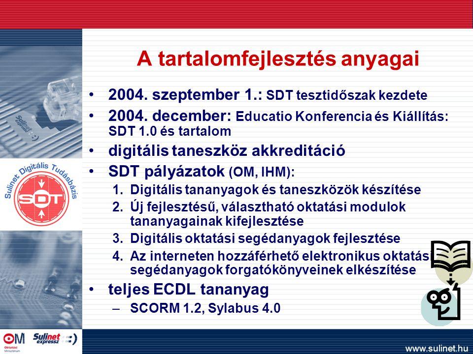 www.sulinet.hu A tartalomfejlesztés anyagai 2004. szeptember 1.: SDT tesztidőszak kezdete 2004.