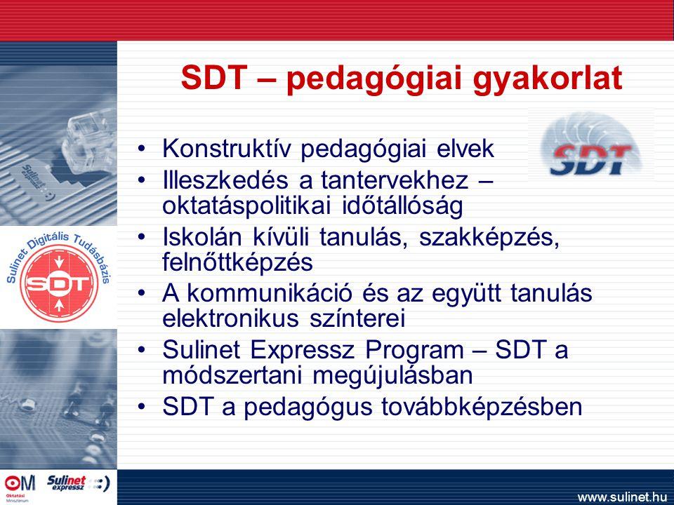 www.sulinet.hu SDT – pedagógiai gyakorlat Konstruktív pedagógiai elvek Illeszkedés a tantervekhez – oktatáspolitikai időtállóság Iskolán kívüli tanulás, szakképzés, felnőttképzés A kommunikáció és az együtt tanulás elektronikus színterei Sulinet Expressz Program – SDT a módszertani megújulásban SDT a pedagógus továbbképzésben
