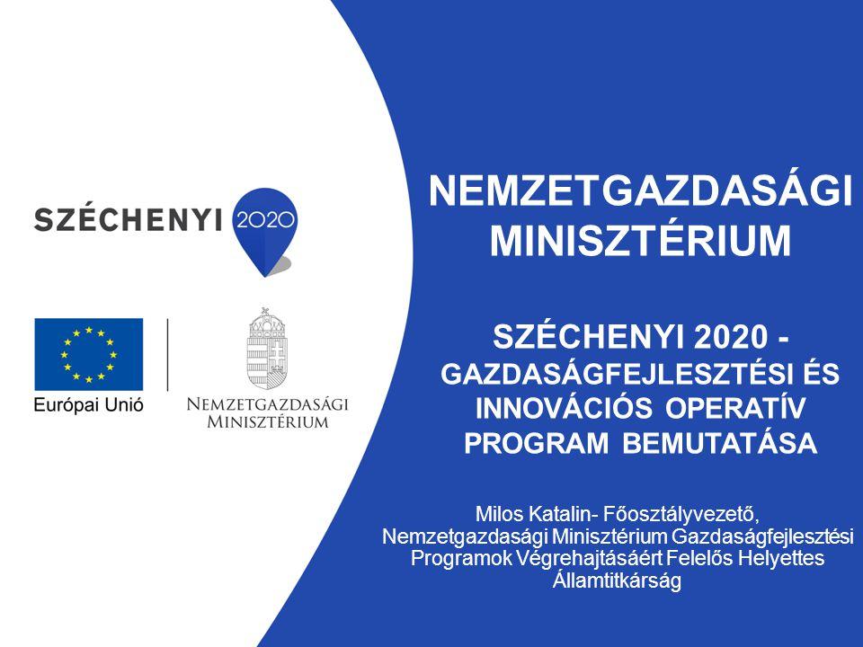 NEMZETGAZDASÁGI MINISZTÉRIUM SZÉCHENYI 2020 - GAZDASÁGFEJLESZTÉSI ÉS INNOVÁCIÓS OPERATÍV PROGRAM BEMUTATÁSA Milos Katalin- Főosztályvezető, Nemzetgazd