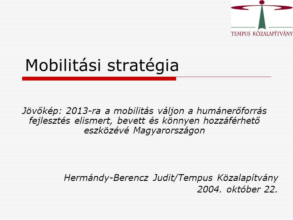 Mobilitási stratégia Jövőkép: 2013-ra a mobilitás váljon a humánerőforrás fejlesztés elismert, bevett és könnyen hozzáférhető eszközévé Magyarországon Hermándy-Berencz Judit/Tempus Közalapítvány 2004.