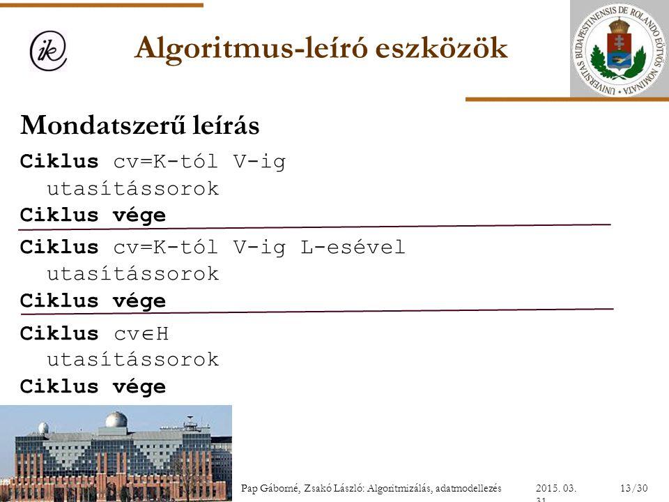 Algoritmus-leíró eszközök Mondatszerű leírás Ciklus cv=K-tól V-ig utasítássorok Ciklus vége Ciklus cv=K-tól V-ig L-esével utasítássorok Ciklus vége Ci