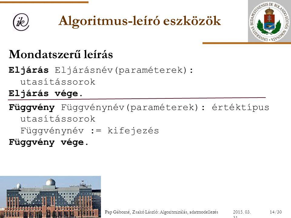 Algoritmus-leíró eszközök Mondatszerű leírás Eljárás Eljárásnév(paraméterek): utasítássorok Eljárás vége. Függvény Függvénynév(paraméterek): értéktípu
