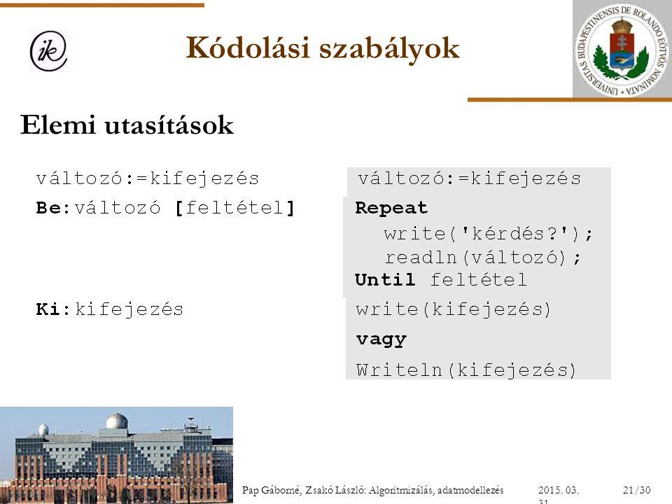 Kódolási szabályok 2015. 03. 31. 21/30Pap Gáborné, Zsakó László: Algoritmizálás, adatmodellezés Elemi utasítások