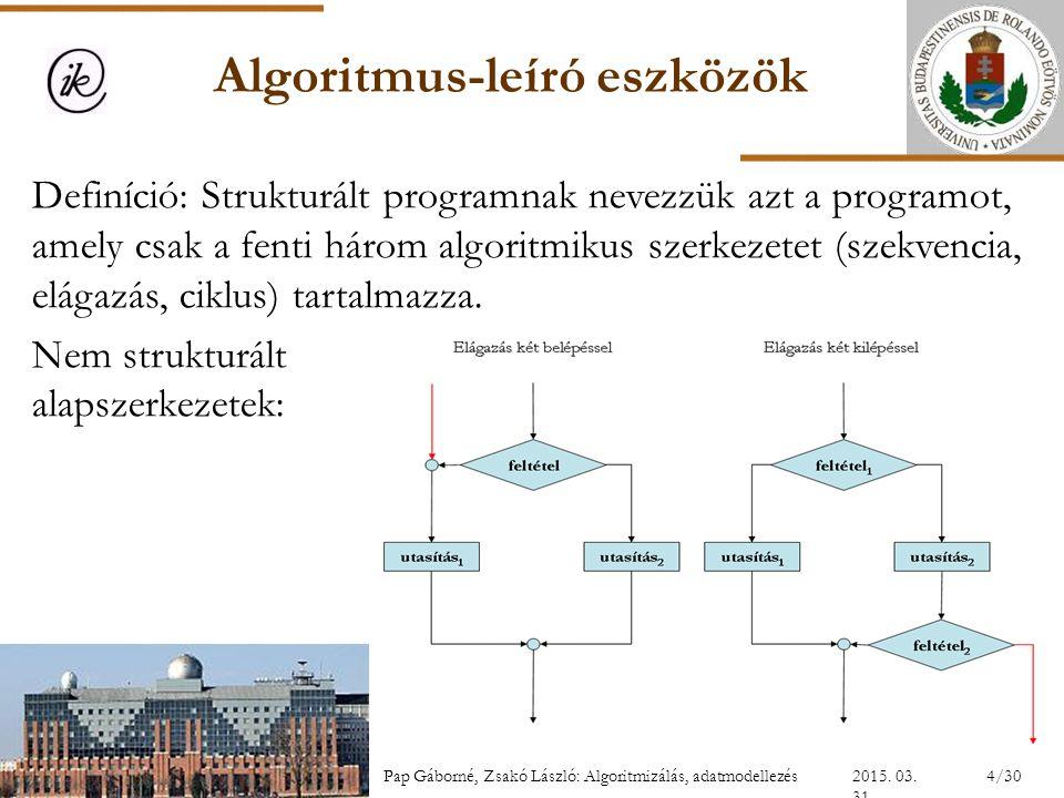 Algoritmus-leíró eszközök Definíció: Strukturált programnak nevezzük azt a programot, amely csak a fenti három algoritmikus szerkezetet (szekvencia, e