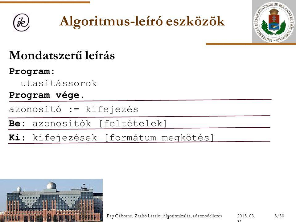 Algoritmus-leíró eszközök Mondatszerű leírás Program: utasítássorok Program vége. azonosító := kifejezés Be: azonosítók[feltételek] Ki: kifejezések [f