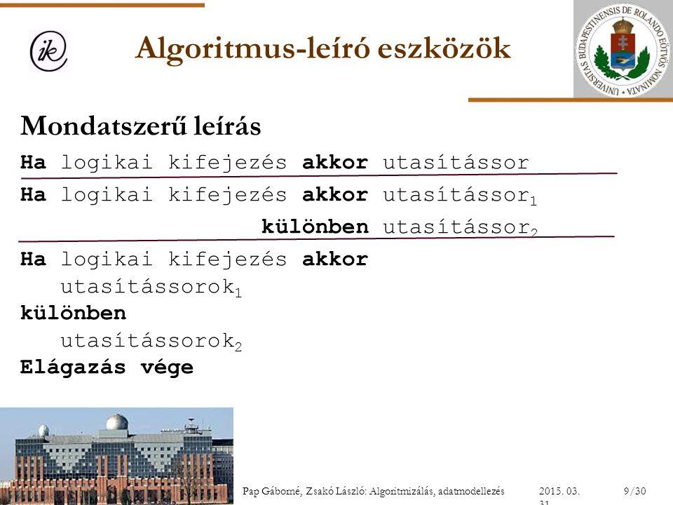 Algoritmus-leíró eszközök Mondatszerű leírás Ha logikai kifejezés akkor utasítássor Ha logikai kifejezés akkor utasítássor 1 különben utasítássor 2 Ha